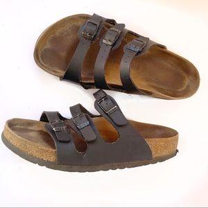 Birkenstock black leather 3 buckle sandal